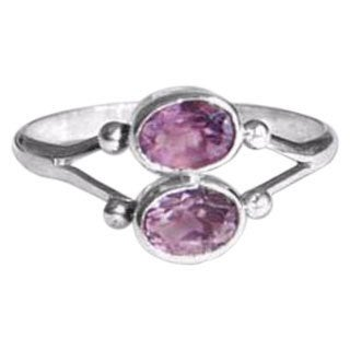 Handmade Sterling Silver 'Twin Spirits' Amethyst Ring (Indonesia)