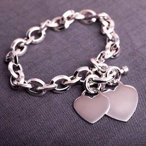 Miadora Sterling Silver Double Heart Link Charm Bracelet