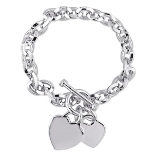 bccebb0024246 Shop Miadora Sterling Silver Double Heart Link Charm Bracelet - On ...