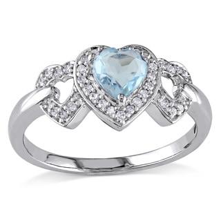 Miadora 10k White Gold Diamond and Blue Topaz Heart Ring