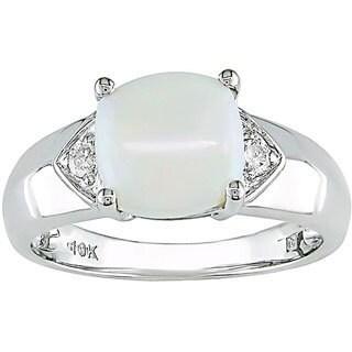 Miadora 10k White Gold Diamond and Square Opal Ring