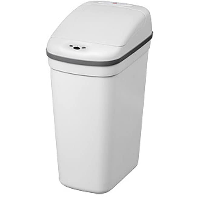 White Plastic Motion Sensor 7.1-gallon Trash Can