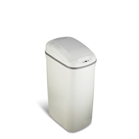 Grey Plastic Motion Sensor 8.7-gallon Trash Can