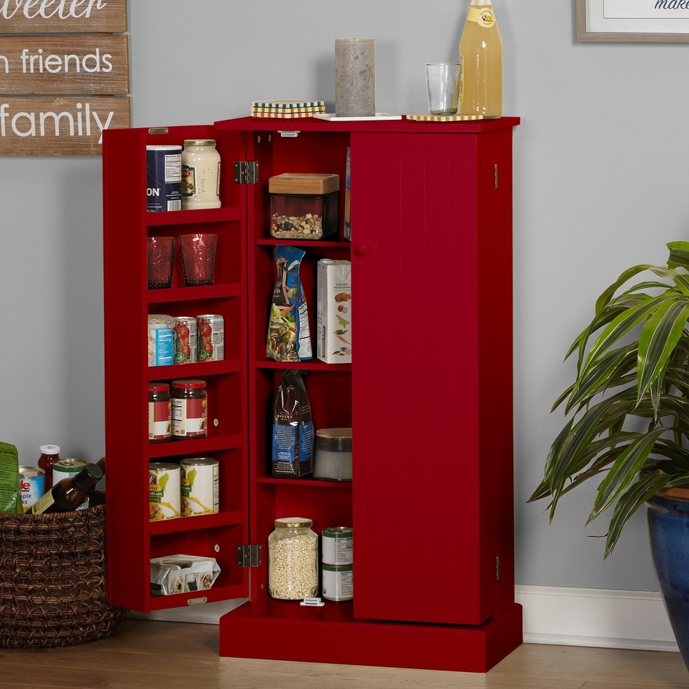 Simple Living  Pine Utility Kitchen Pantry (Red)