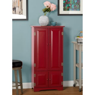 Simple Living Tall Cabinet (Option: Red - Red Finish)