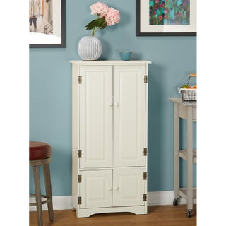 Simple Living Tall Cabinet (Option: Antique White - White Finish)