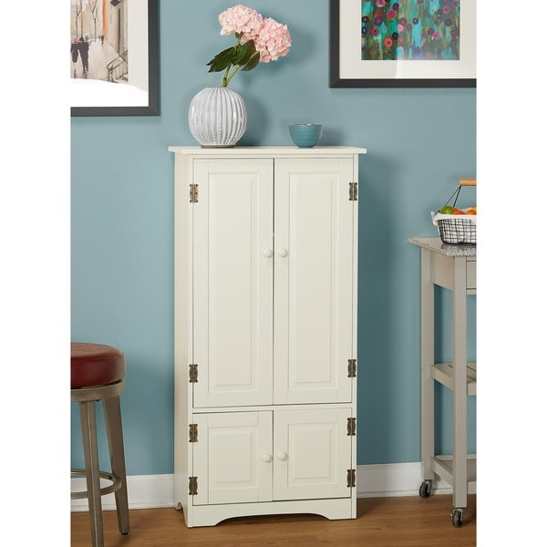 Simple Living Tall Cabinet   White Finish   Antique White by Simple Living