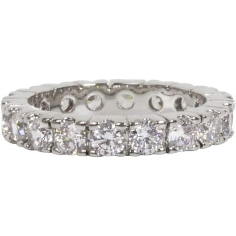 Silver Cubic Zirconia Eternity Band Stackable Ring by Simon Frank Designs