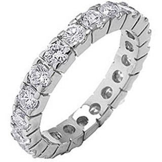 Simon Frank Designs Hand Set Stackable CZ Eternity Band Ring - White (More options available)