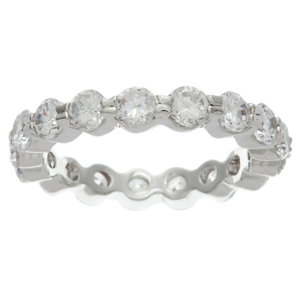 Simon Frank 14k White Gold Overlay CZ Stackable Eternity Band