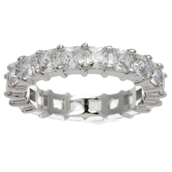 Simon Frank Princess-cut Stackable CZ Eternity Band - White