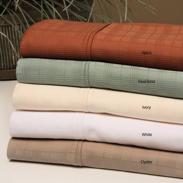 Windowpane Pattern 320 Thread Count Cotton Sateen Sheet Set