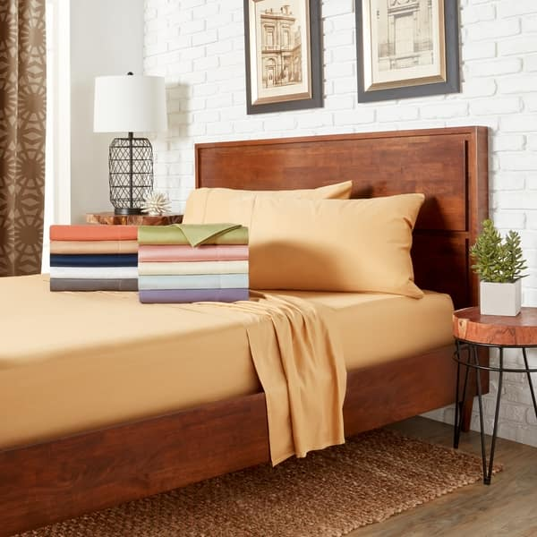 2cdf93cab1e5 Hemstitch 400 Thread Count Cotton Sateen Weave Solid Color Sheet Set