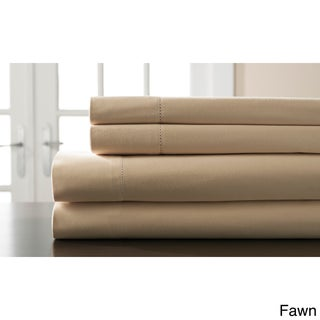 Hemstitch 400 Thread Count Cotton Sateen Weave Solid Color Sheet Set (4 options available)