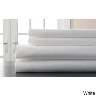 Hemstitch 400 Thread Count Cotton Sateen Weave Solid Color Sheet Set (More options available)