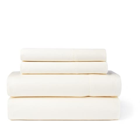Hemstitch 400 Thread Count Cotton Sateen Weave Solid Color Bed Sheet Set