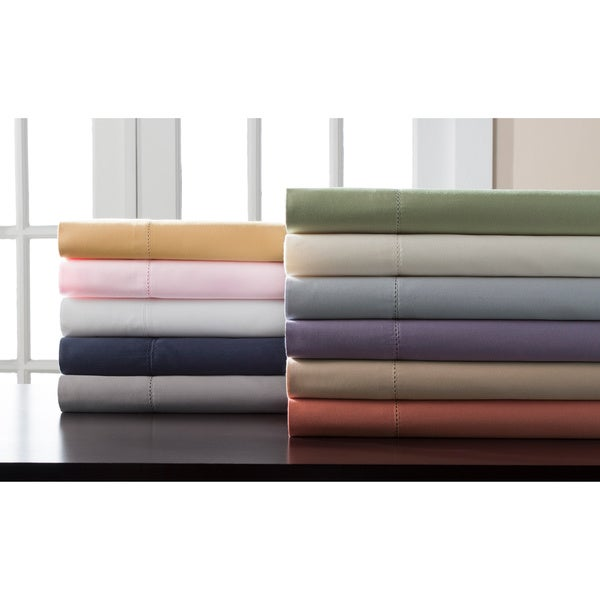 Hemstitch 400 TC Cotton Sateen Weave Solid Color Sheet Set
