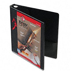 Recycled ClearVue Black 1-Inch EasyOpen D-Ring Presentation Binder