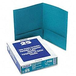 Linen Teal Twin-Pocket Portfolios (25 per Box)
