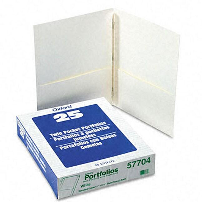 White Twin-Pocket Portfolios with Three Tang Fasteners (2...