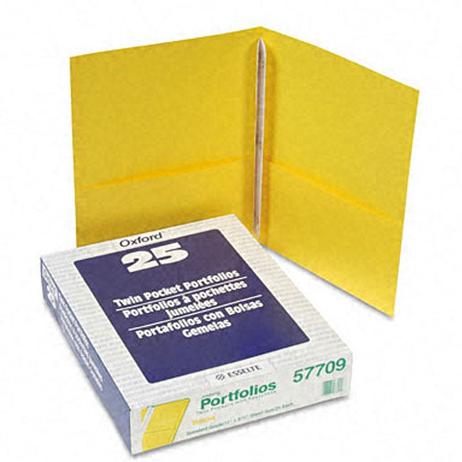 Yellow Twin-Pocket Portfolios with Three Tang Fasteners (...