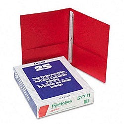 Red Twin-Pocket Portfolios with Three Tang Fasteners (25 per Box)