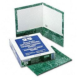 Marble Design Laminated Two-Pocket Green Portfolios (25 per Box)