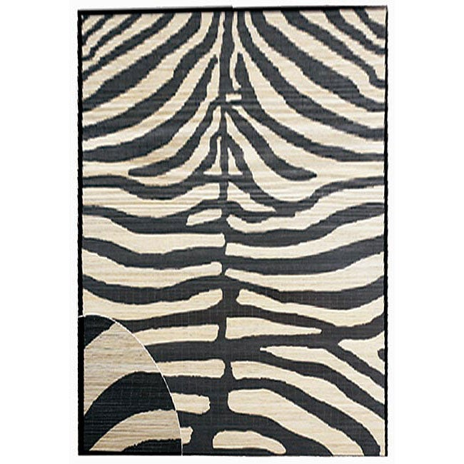 Hand-woven Zebra Rayon from Bamboo Rug (5' x 8')