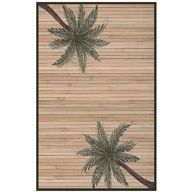 Hand-woven Palm Tree Rayon from Bamboo Rug (6' x 9') - multi - 6' x 9'