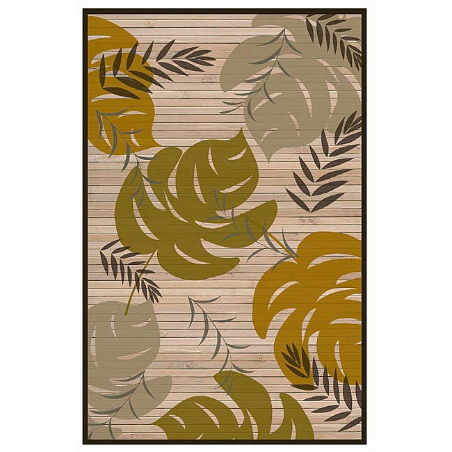 Hand-woven Leaf Rayon from Bamboo Rug (5' x 8')