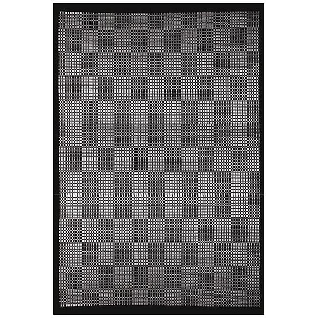 Hand-woven Black cream Rayon from Bamboo Rug (5' x 8')