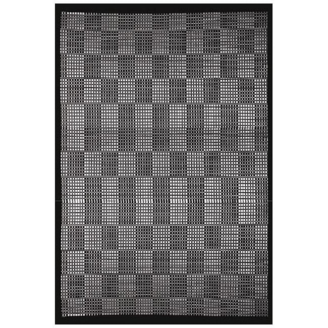 Hand-woven Black/ Cream Rayon from Bamboo Rug (6' x 9')
