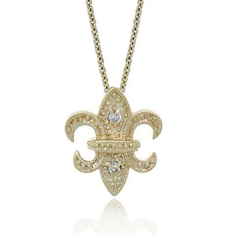 Icz Stonez 18k Gold over Silver CZ Fleur De Lis Necklace
