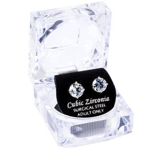 Simon Frank Designs 1.64ct. TDW 8mm Round White CZ Stud Silvertone Earrings W/Crystal Gift Box