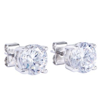 Simon Frank Designs 1.64ct. TDW  8mm Round White CZ Stud Silvertone Earrings W/Crystal Gift Box