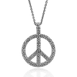Icz Stonez Sterling Silver Cubic Zirconia Peace Sign Necklace