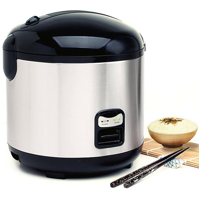 Stainless Steel 10-cup Rice Cooker with Steam Tray