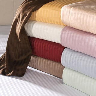 Superior 100-percent Premium Long-staple Combed Cotton 650 Thread Count Deep Pocket Striped Sheet Set