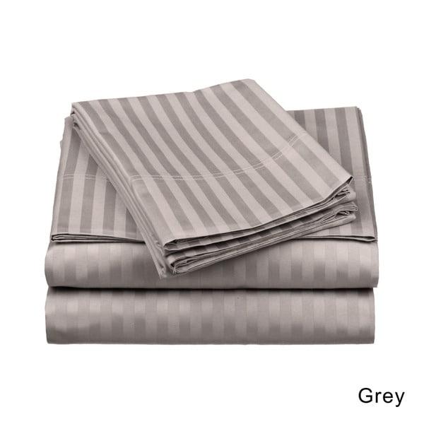 Beige Striped Deep Pocket Bed Sheet Set 1000 Count Egyptian Cotton Sheet