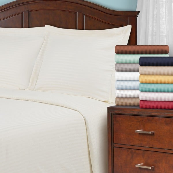 Superior Egyptian Cotton 650 Thread Count Stripe Duvet Cover Set