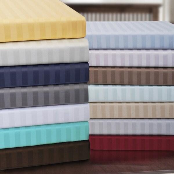 Superior Premium Long-staple Combed Cotton 650 Thread Count Striped 3-piece Duvet Cover Set