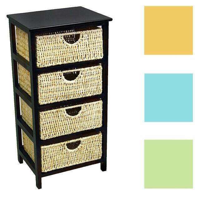 Brookstone 4 Drawer Compact Wicker Basket Storage Shelf (...