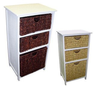 White Frame Compact Wicker Basket Storage Shelf