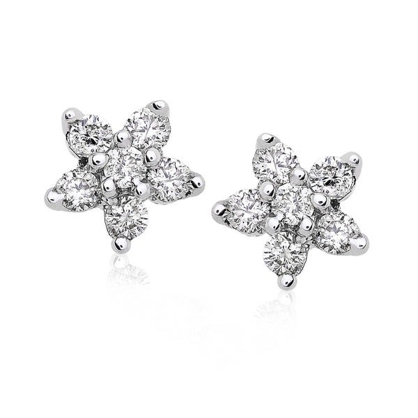 Annello by Kobelli 14k Gold 1/5ct TDW Diamond Floral 5-Point Star Womens Earrings
