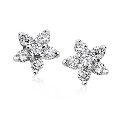 Annello by Kobelli 14k Gold 1/5ct TDW Diamond Floral 5-Point Star Womens Earrings