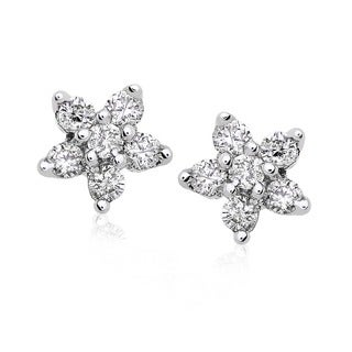 Annello by Kobelli 14k Gold 1/5ct TDW Diamond Star Earrings