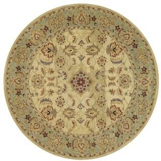 Hand-tufted Mason Beige/ Green Wool Rug (8' Round)