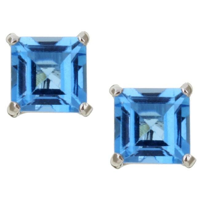 Kabella 14k White Gold Square Blue Topaz Stud Earrings