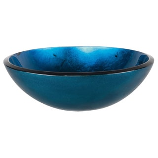 KRAUS Irruption Glass Vessel Sink in Blue with Pop-Up Drain and Mounting Ring