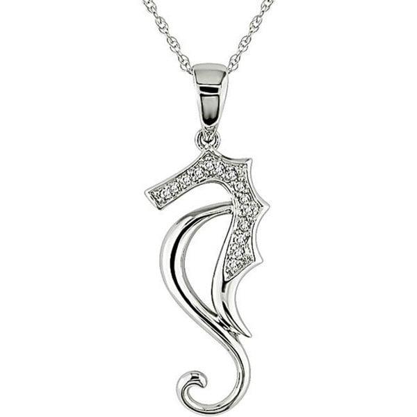 Miadora 10k White Gold Diamond Sea Horse Necklace